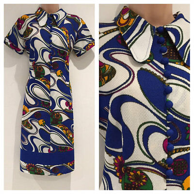 Vintage 1970's Mod Blue White & Yellow Abstract Print Shift Dress Size 14-16