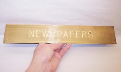 """Vintage Solid BRASS Engraved NEWSPAPERS SIGN 14"""" x 2.5"""""""