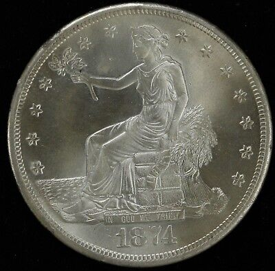 1874 S  Trade Dollar Silver $1  Whizzed Choice Au Details About Uncirc (3749)