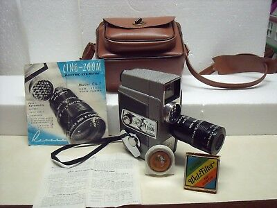 Revere Model CA-7 Cine-Zoom Eye-Matic Spool Eight 8mm Movie Camera, Case, Filter