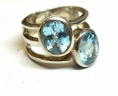 925 STERLING SILVER 2 Oval Blue TOPAZ Cocktail Ring, Size L, 10.25g - H09