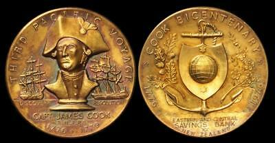 1976 Gold Medal Captain James Cook New Zealand Toned Gold Coin