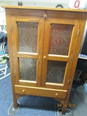 Amish Built Punched Tin Front Pie Safe/jelly Cupboard