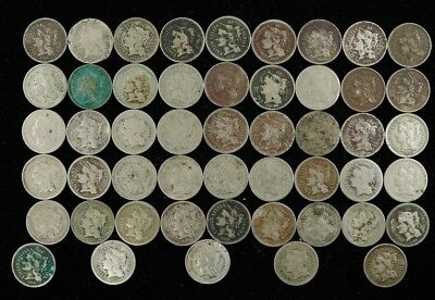 Mixed Date Three Cent Nickel 3Cn Culls Lot Of 50 Coins