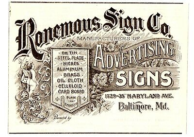 1906 Ronemous Sign Company, Baltimore, Maryland Advertisement