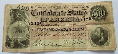 1864 $500 Confederate Currency Note, Scarce Richmond Jackson Bill  (161815Q)
