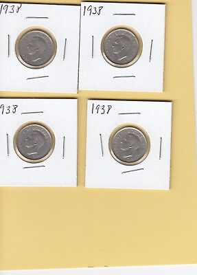 1938 Canadian five cent coins high grade  (verry low mintage) 3.8 million