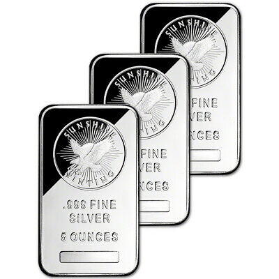 THREE (3) 5 oz. Silver Bar - Sunshine Minting - .999 Fine - Sealed