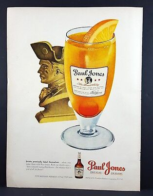 1948 Paul Jones Whiskey Orange Slice Vintage Magazine Print Ad
