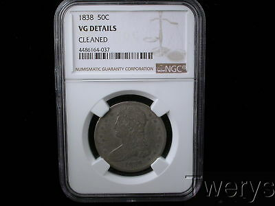 1838 Capped Bust Silver Half Dollar 50 Cents Ngc Vg Details