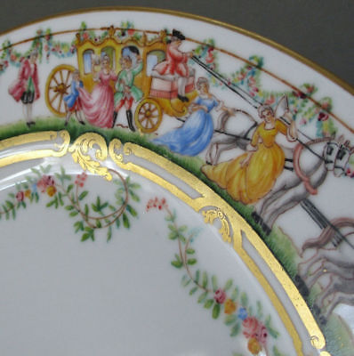 Antique HP Porcelain Plate SWAGS French Figures CARRIAGES Horses SALVIATI Venice