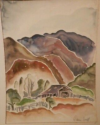 OLD ANTIQUE Fine Art original Watercolor PAINTING 1930s Landscape artwork
