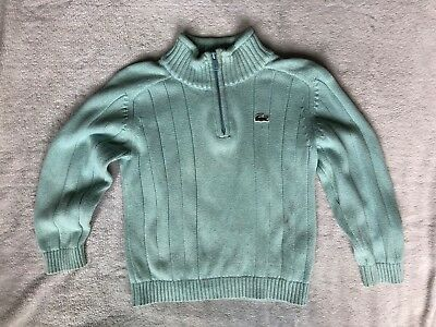 Lacoste Authentic Designer Boy's Blue Pullover Half Zip Sweater: Size 5