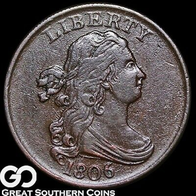 1806 Half Cent, Draped Bust, Tough Choice XF Early Copper ** Free Shipping!