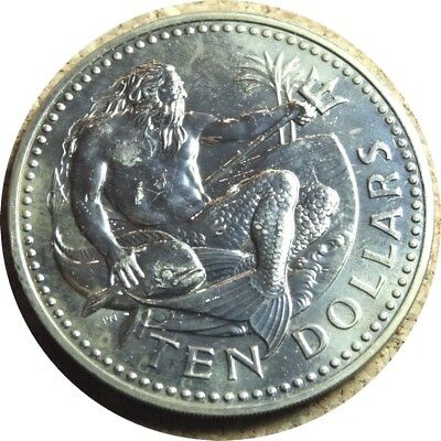 elf Barbados 10 Dollars 1979 FM (M) Neptune Fish only 600 minted