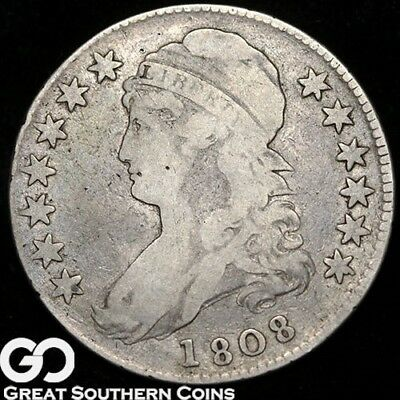 1808 Capped Bust Half Dollar, Tough Early Type Silver