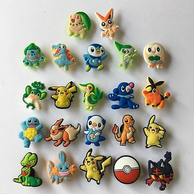 22pcs/lot Pokemon Pikachu PVC Shoe Charms for Croc & Jibbitz Bracelet Party Gift