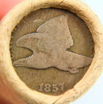 1857 Flying Eagle & Lincoln Wheat Penny on Ends of a Wheat Cent Roll 9633