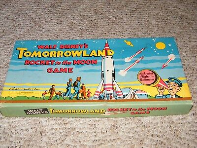 Rare Vintage 1956 Walt Disney Tomorrowland Board Game Rocket To The Moon Nice !