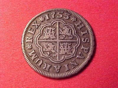 Spain Seville 1 Real Silver 1753-S Pj Choice Original Coin Nice