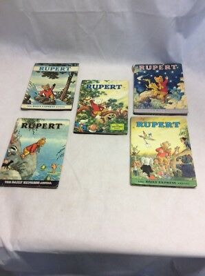 Rupert the Bear Daily Express Annuals 1969,1970,1972,1973, 1979 Bundle Joblot