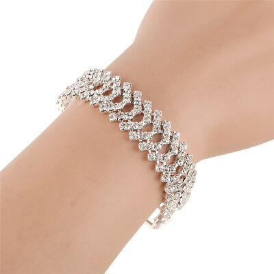 Luxury Crystal Chain For Women Silver Bracelets Bangles Bridal Wedding Jewelry