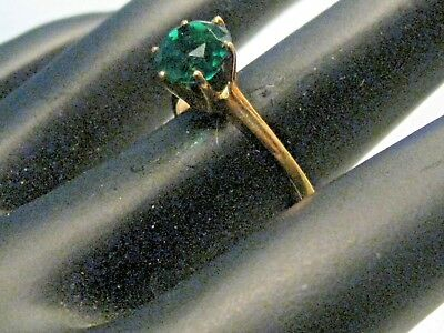 Vintage 10kt  Green Tourmaline Ring, Size 6, Bonded/Simulated, 7mm stone