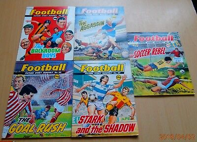 5 x FOOTBALL picture story monthly comic  ( NOT COMMANDO )
