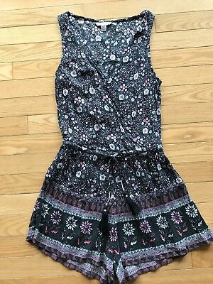 610f43076b62 NWOT AMERICAN EAGLE OUTFITTERS Floral Romper Charcoal Gray Pink Extra Small  XS