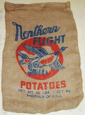 "Nos ""northern Flight Potatoes"" 50Lbs Advertising Burlap Bag/sack--Vg Condition!!"