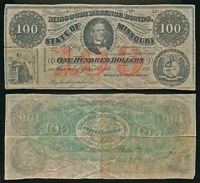 Civil War $100 State Of Missouri Defence Bond (Unsigned)  No Reserve