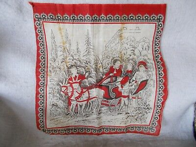 Antique Child's Turkey Red And Brown Hanky-Goat Cart