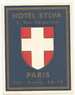 HOTEL SYLVA luggage label (PARIS)