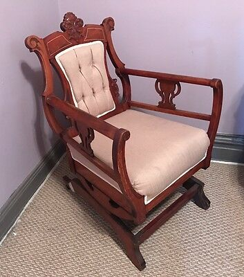 Antique~Eastlake rocking chair~Walnut~Victorian Rocker Beautiful