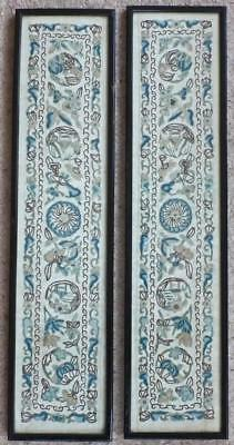 PAIR TOP QUALITY ANTIQUE CHINESE SILK EMBROIDERY 2 SLEEVE PANELS Pekin Knot