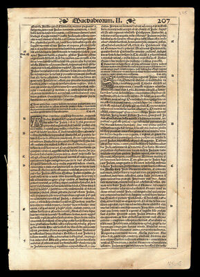 Old Testament 1539 Bible Leaf  Second Book of Maccabees Chapters 13-15.