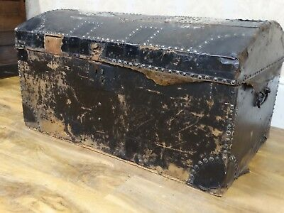 fabulously quirky antique early or pre victorian done topped trunk, chest,