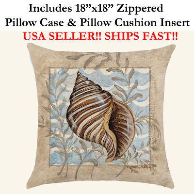 "18x18 18"" BEACH SEASHELLS CONCH NAUTICAL MARINE Zippered Pillow Case Only"