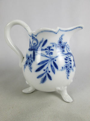 Rare Antique Meissen Blue Onion Three Footed Porcelain Creamer Pitcher