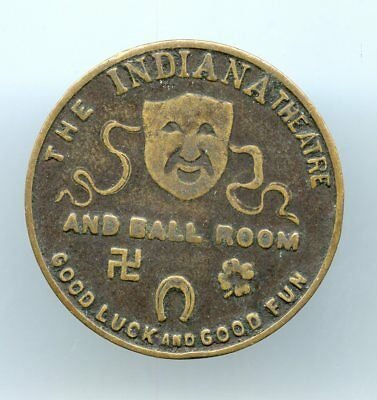1920's-1930's ~  Indiana Theatre Company Good Luck Token ~ Vf