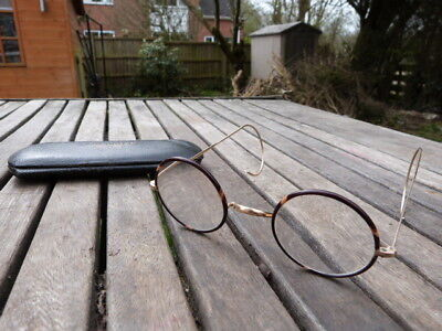 LOVELY PAIR OF VINTAGE 1940s SPECTACLES GLASSES & CASE.STEAM PUNK.
