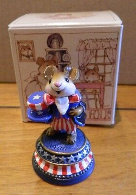 Wee Forest Folk WFF LTD-4 Uncle Sammy SIGNED Mouse Figurine in Box LOOK