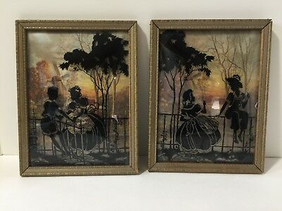 Pair Of Vintage Reverse Painted Silhouette Pictures