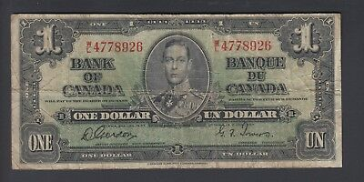1937 $1 Dollar - Gordon Towers - Prefix W/L - Bank of Canada - B339