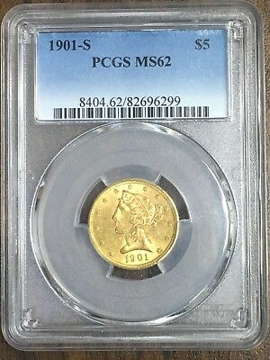 1901 S $5 Gold Liberty Coin PCGS MS62 C296