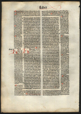 1494 Commentary on St Augustine's City of God Incunable Hand-Colored Letters