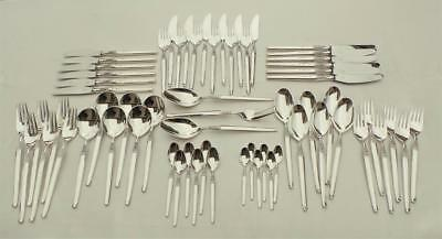 Lovely 63 Piece 'cheri' Pattern Silver Plated Cutlery Set ~By Frigast Of Denmark