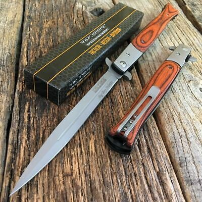 "TAC FORCE 13"" Extra Large Spring Assisted Open STILETTO Pocket Knife WOOD"