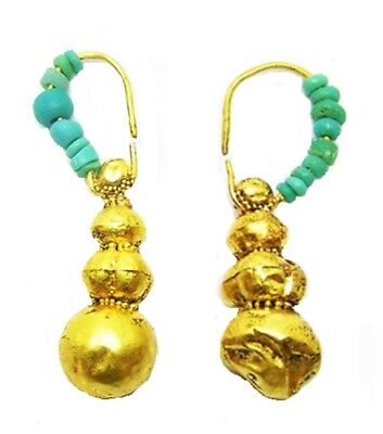 300 B.C. - 200 A.D. Ptolemaic / Romano Egyptian Gold Turquoise Glass Earrings