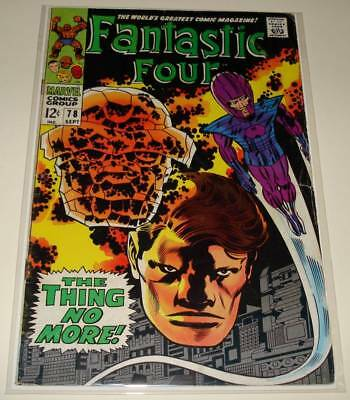 "FANTASTIC FOUR # 78 Marvel Comic (Sept 1968)  VG   ""The Thing No More"""